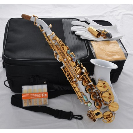 Top White Curved Bb Soprano sax Saxophone Ablone shell Keys With Case+10 Pc Reed