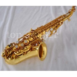 High Quality gold Bb soprano saxophone new curved sax high F# with case