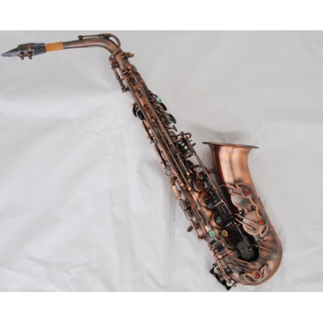 Professional Red Antique 54 Reference Alto Saxophone Eb High F# Sax Abalone Keys