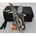 Professional. Black Nickel Curved Soprano Saxophone Bb sax Abalone Key High F# with case