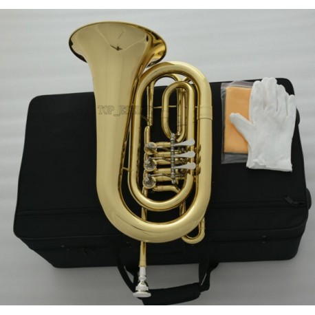 Professional Rotary Valve Bass Flugelhorn Gold Flugel C Key with case