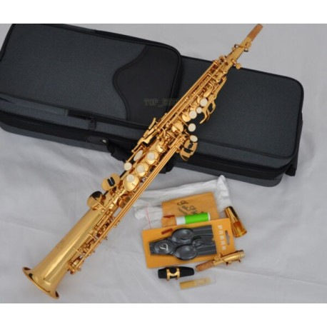 Professional Superbrass Gold Straight Soprano Saxophone BB Sax High F With Case