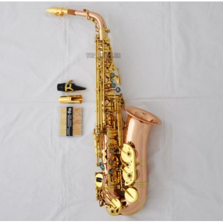 Professional Rose Brass Alto saxophone Abalone Key Sax +Leather Case Matal Mouth