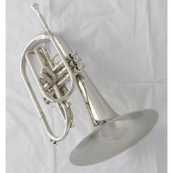 Professional Superbrass Silver Nickel Marching Mellophone F Key Horn with case