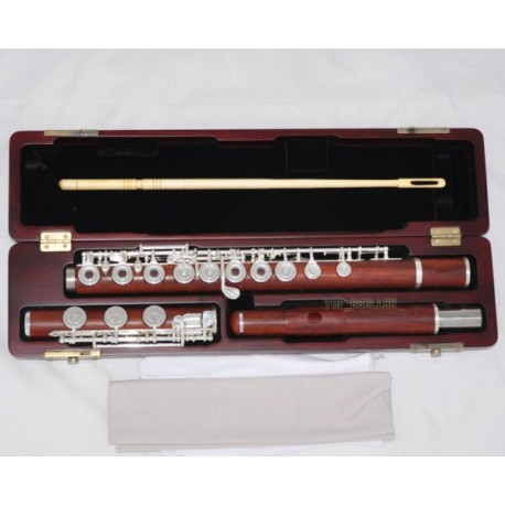 Professional Grenadilla Rose Wooden Flute Open Hole B foot In-Line G W/Case