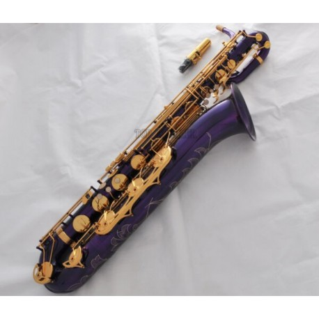 Professional Purple Finish Baritone Saxophone Bari sax Low A High F# With Case
