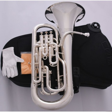 Professional Bb Trigger Compensating Euphonium Silver Plated Wheels Case