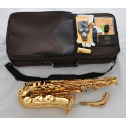 Professional Gold Superbrass Eb Alto Saxophone High F# Sax Abalone Shell +Case