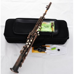 Professional Superbrass Red Antique Soprano Saxophone Bb High F# Sax 2Neck Case