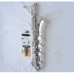 Professional Silver nickel Superbrass Baritone Saxophone With Abalone Shell Key Sax