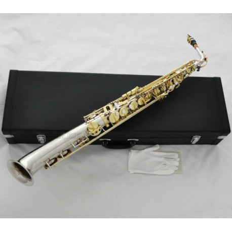Professional Superbrass Straight Eb Alto Saxophone Silver/Gold curved bell sax +Case
