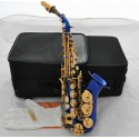 High Grade New Blue Gold Curved Soprano Saxophone Sax Bb key High F With Case
