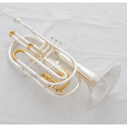Professional Silver Gold Plated Marching Trombone B-flat Monel Valves Case