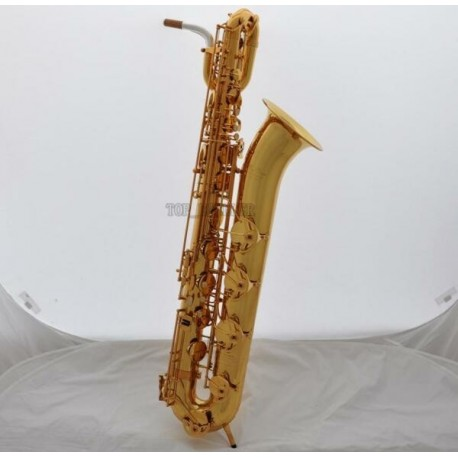 Support Professional Baritone Saxophone Gold Superbrass Sax Eb Low A 2 Neck W/Case