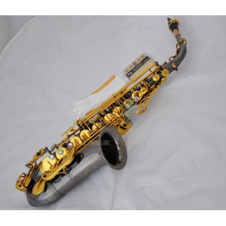 Professional Black nickel Gold Alto Saxophone Sax High F# Abalone Key Case