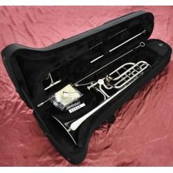 Professional Silver nickel Plating Bass Trombone Double Rotor Horn Bb/F/Eb&Bb/F/D/Gb Key