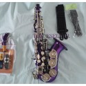 Purple Curved Soprano Saxophone Bb sax Silver nickel key High F With Case