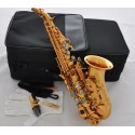 Superbrass Gold Curved Soprano saxophone Bb Sax Abalone shell Keys High F# With Case