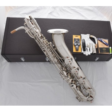 Professional. Superbrass Silver nickel Plated Eb Baritone Saxophone With 2-necks Case