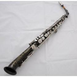 Professional Straight Alto Saxello Saxophone Black Nickel Silver sax Peal Keys