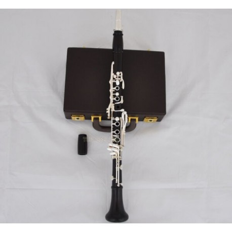 Professional Ebony Wooden Bb Clarinet Silver Plated 19 key Italian pad With Case