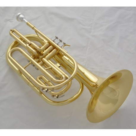Professional Gold Marching Trombone B-Flat Monel Valve Brand With Case