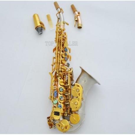 Customized Curved Rose Brass Soprano Bb Saxophone Satin Nickel Bell Sax 2 Necks