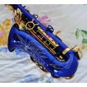 High Grade Blue Gold Eb Alto saxophone Sax High F# With Case