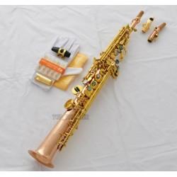 Professional Rose Brass Soprano Saxophone BB sax High F# Abalone key + Metal Mouthpiece