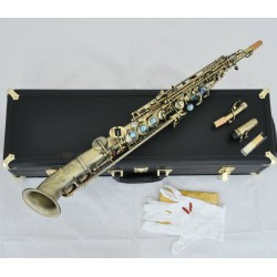 Professional Antique Soprano Saxello saxophone curved bell With Abalone High F#, G