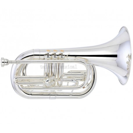Professional Superbrass Marching Baritone Silver Nickel Horn B-Flat With Case