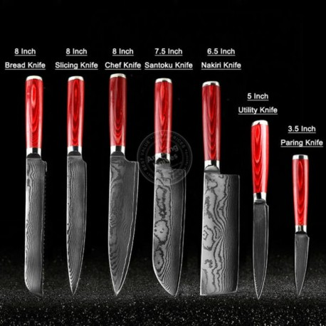 Japanese Damascus Kitchen Knife Set 67-Layer Vg10 Steel Core Amazing Quality 7 Pc Set