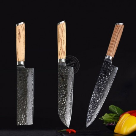 Kitchen Knife Set Damascus Japanese Vg10 Steel 8'' Chef Knife Santoku Knife 3pcs