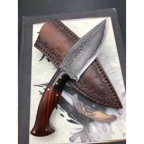 Damascus Survival Outdoor Camping Hunting Knife Fixed Blade W/ Sheath Full Tang