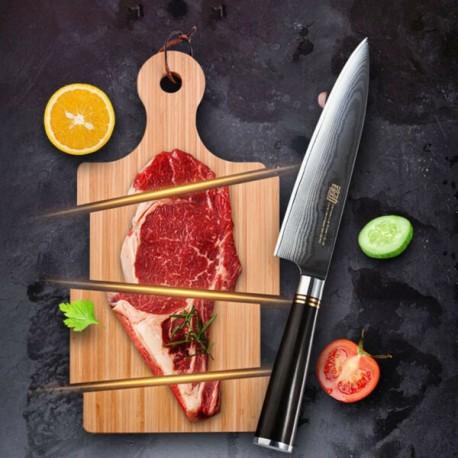 8'' Chef Knife Japanese Vg10 Damascus Steel Kitchen Knives Ebony Wood Sheath