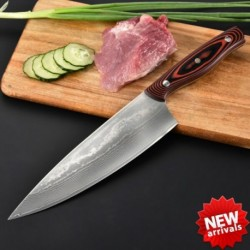 New 8'' Chef Knife Damascus Stainless Steel Kitchen Knives With Micarta Handle