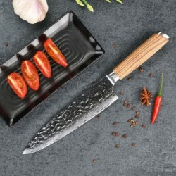 8'' Chef Knife Japanese 67 Layer Vg10 Damascus Steel W/ Zebrawood Handle Kitchen