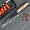 7 Inch Santoku Knife Damascus Japanese Vg10 Stainless Steel Kitchen Knives Wood