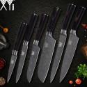 Chef Santoku 6pcs Knife Set Stainless Steel Kitchen Gyuto Laser Damascus Veins