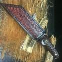 Damascus Steel Mini Katana Outdoor Camping Knife Samurai Warrior Sword W/ Sheath