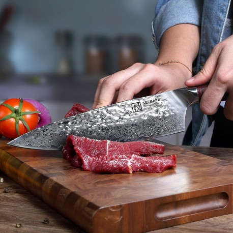 New 8 Inch Chef Knife Damascus Stainless Steel Kitchen Knives Hammered Handmade