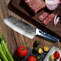 7'' Chef Knife Japanese Aus10 Damascus Steel Kitchen Knife Cleaver Nakiri Knife