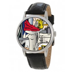Roy Lichtenstein Pop Art Girl in Red Shirt Benday Dots Art Solid Brass Wrist Watch
