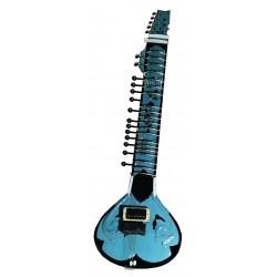 Aquamarine Blue Indian Acoustic Electric Fusion Sitar with Humbucker Pickup Volume Tone Controls