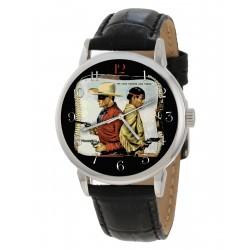 The Lone Ranger - Vintage Teal Blue Comic Art 40 mm Solid Brass Wrist Watch