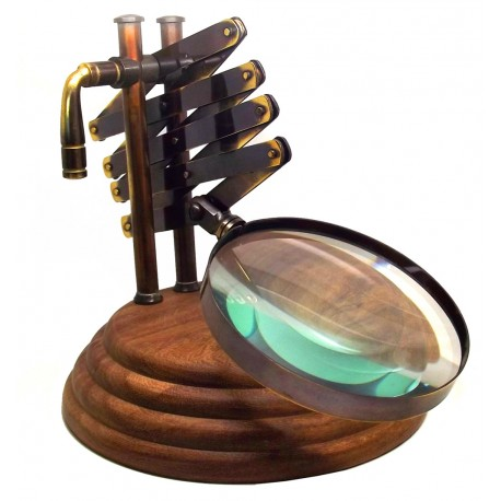 Zigzag Magnifying Glass: Extendible Antiquated Brass Classic