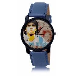 DIego Maradona Soccer Legend Argentina Colors Grune Art Solid Brass Blue Wrist Watch. Silver Tone