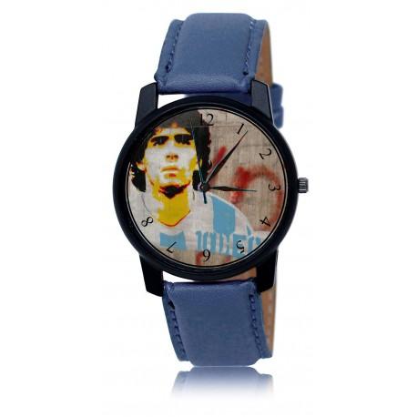 "Classic DIego Maradona Soccer Legend ""10"" Tribute Solid Brass Collectible Wrist Watch. Silver Tone"