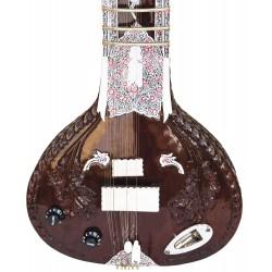 Acoustic Electric Fusion Sitar. Pro-Grade Dark Rosewood Calcutta Version Ravi Shankar Config