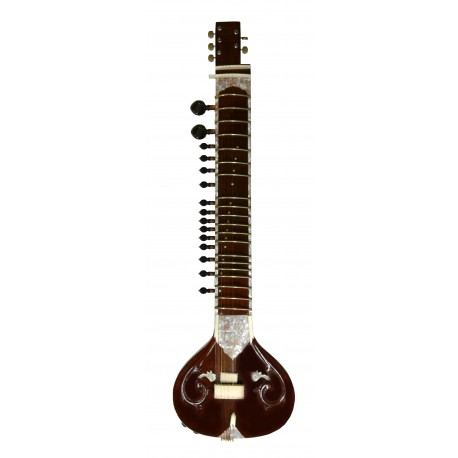 Fusion Sitar in Rosewood. Acoustic-Elecric Flat Travel Sitar with Wooden Resonator
